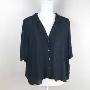 🌹Zara Black Viscose Cropped Blouse. Size XXL.